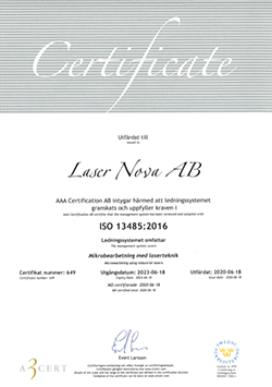 Certification according to ISO 13485